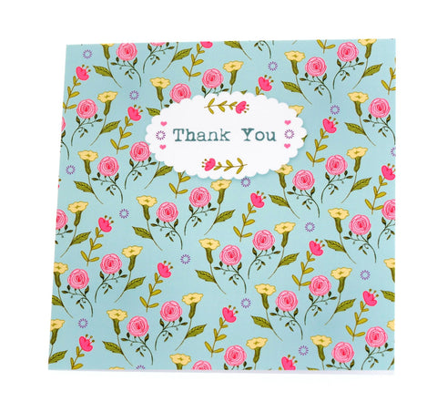 Two thank you cards in one design - duck egg blue