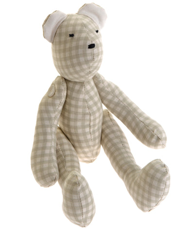 Green check fabric teddy