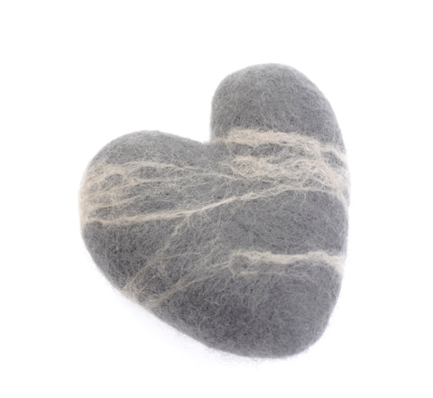 Grey felted pebble hearts (available in two sizes)
