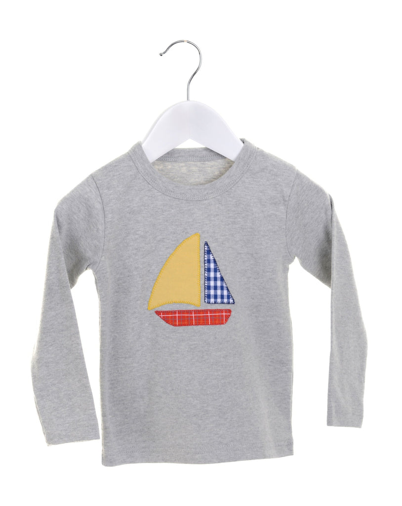 Grey long sleeve boys t-shirt with appliqué boat
