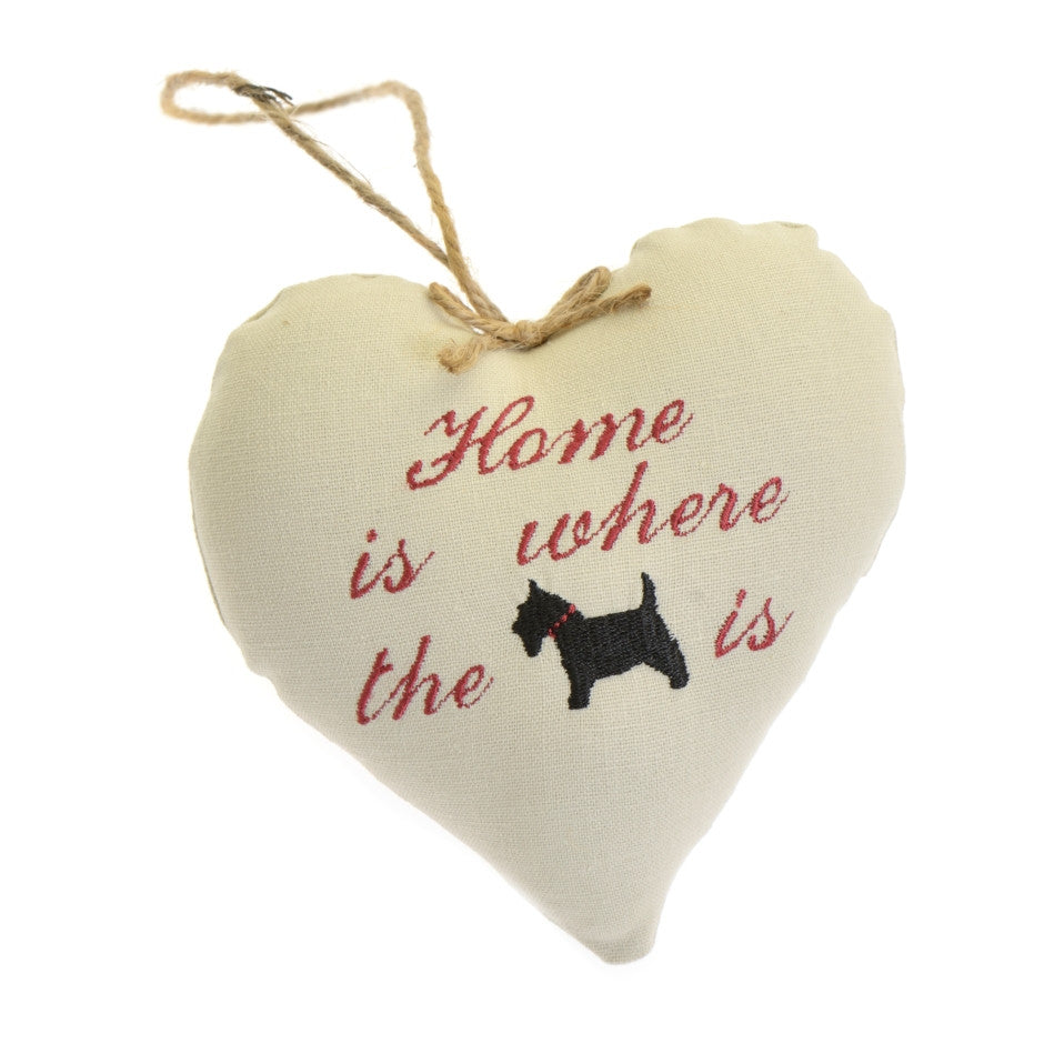 Home is where the dog is fabric heart