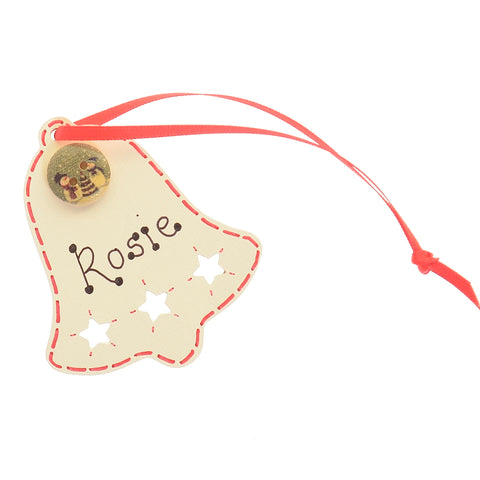 Bell hanging decoration with button - personalised