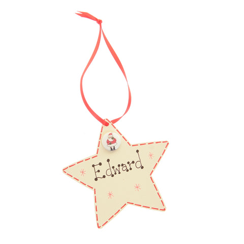 Star hanging decoration with button - personalised
