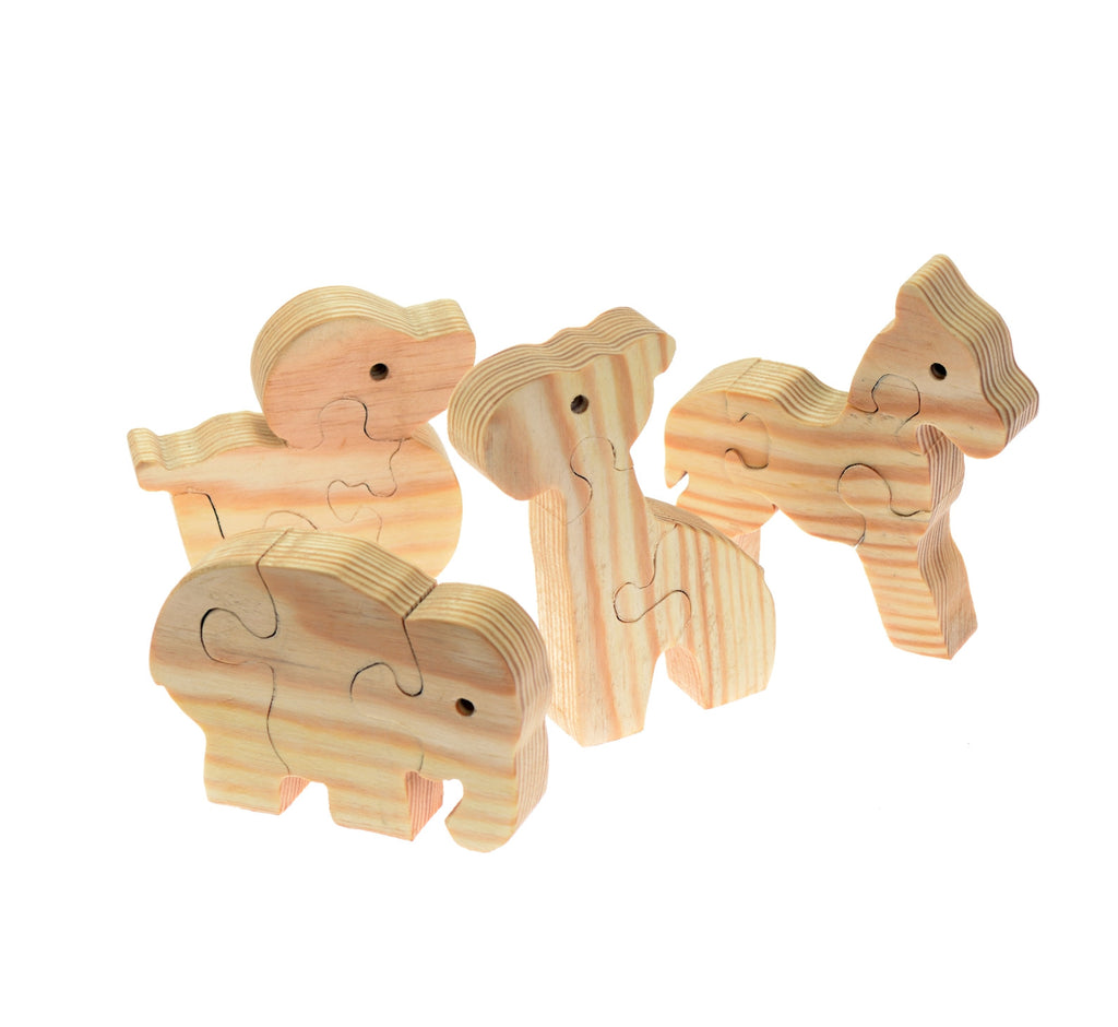 Set of four wooden animal puzzles