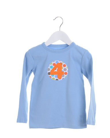 Light blue long sleeve boys t-shirt with appliqué numbers 2-5