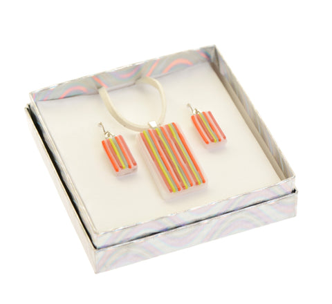 Striped orange earrings and pendant set