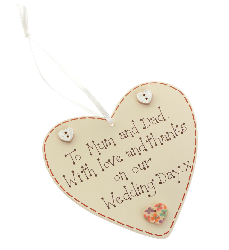 To Mum and Dad wedding heart