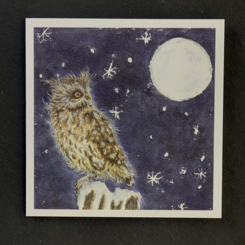 Night life owl greeting card