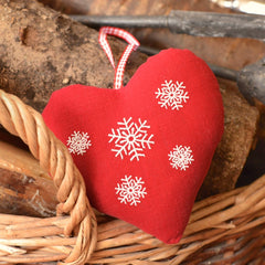 Red snowflake Nordic fabric heart