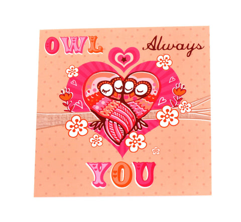 Owl always love you card - pink