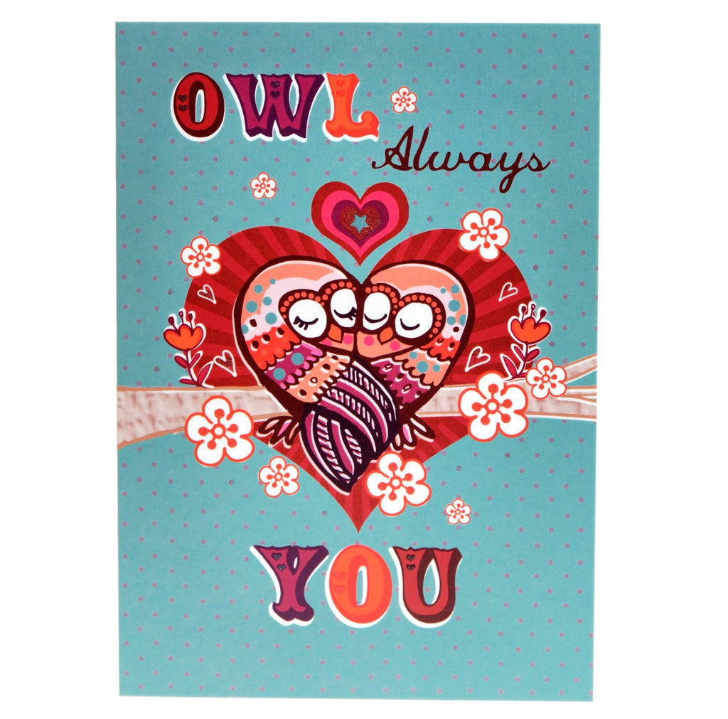 Owl always love you card - teal