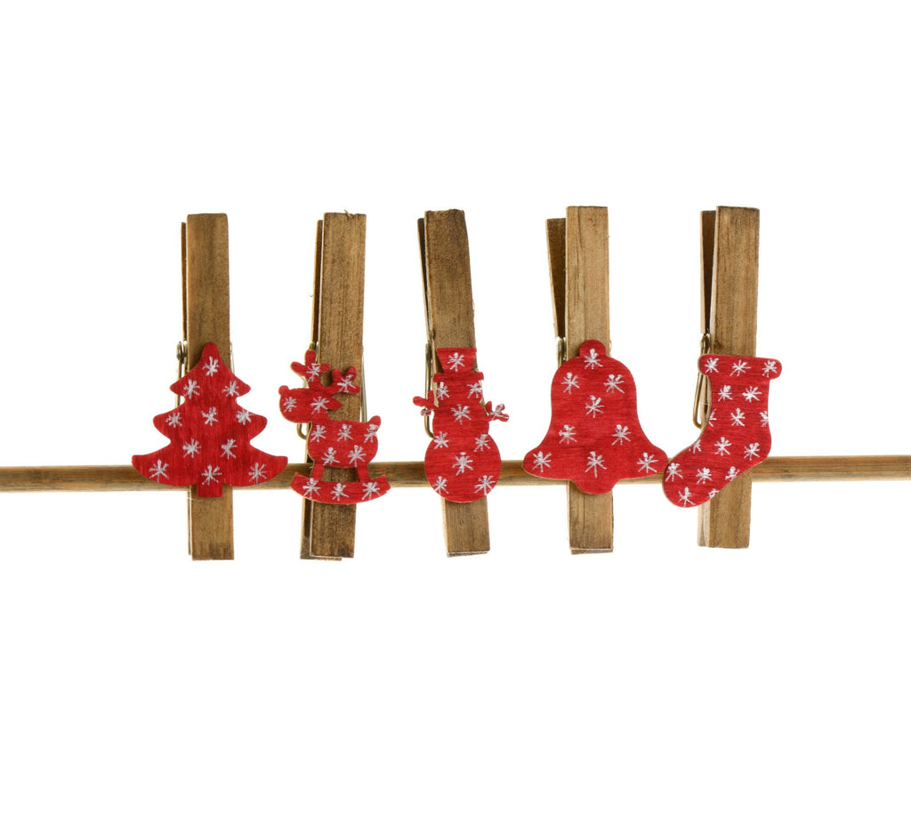 Pack of five festive figures wooden pegs