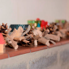 Driftwood and cone garland