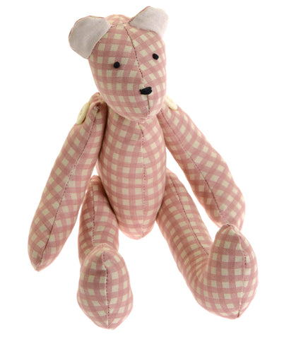 Pink check fabric teddy