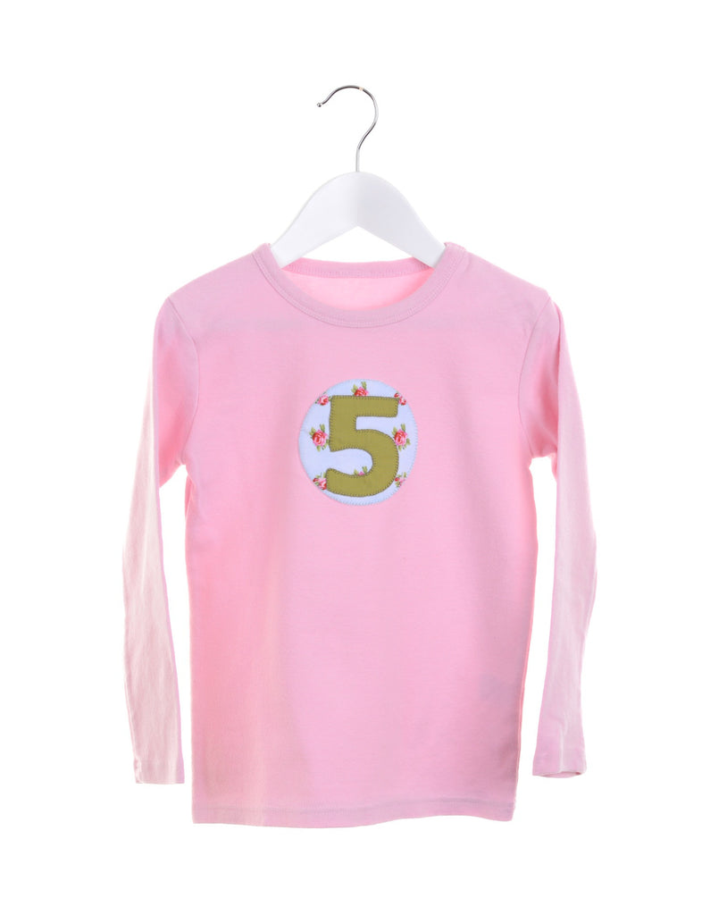 Pink long sleeve girls t-shirt with appliqué numbers 1-5