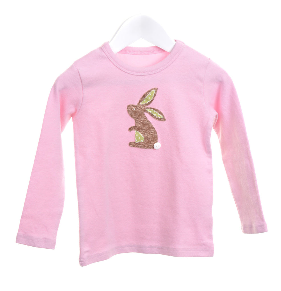 Pink long sleeve girls t-shirt with appliqué rabbit