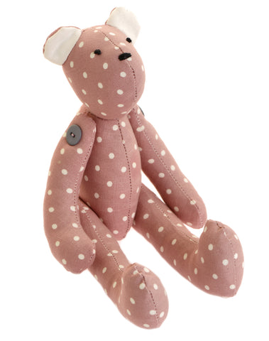 Pink spotty fabric teddy