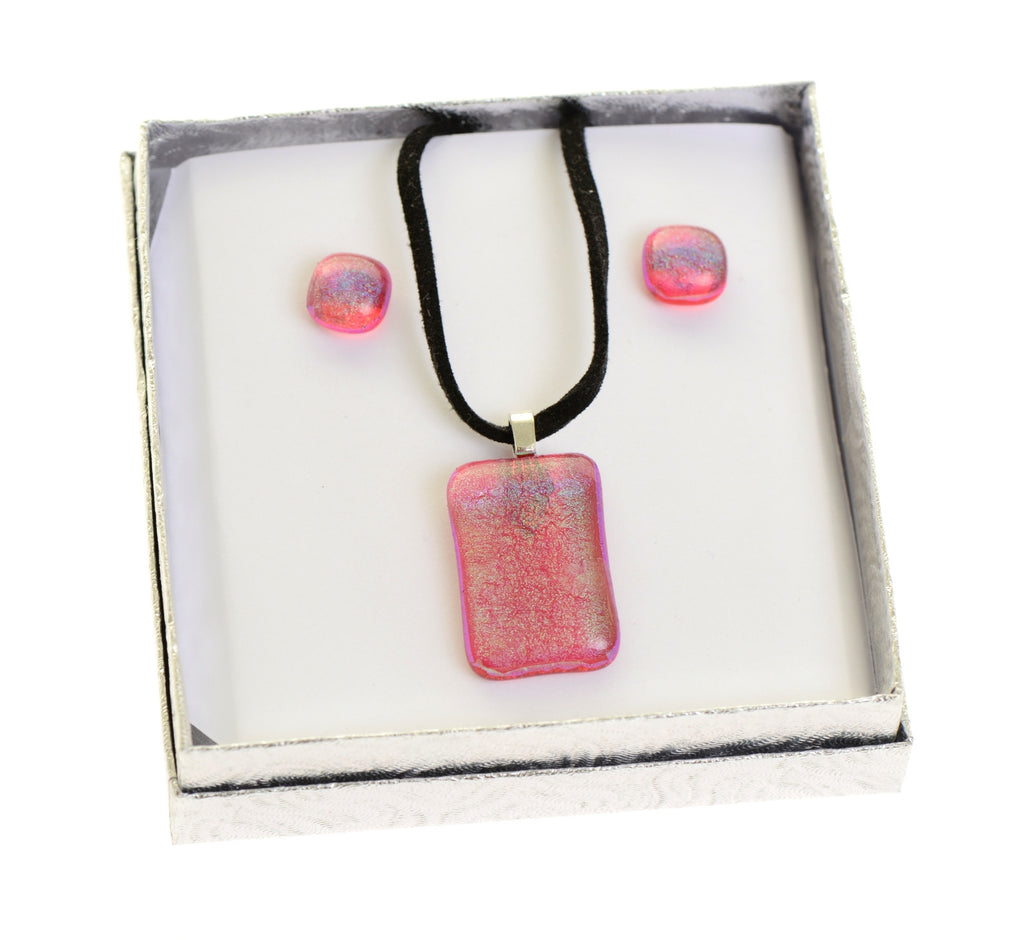 Pink stud earrings and pendant set
