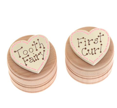 Pink first curl pot with lid and tooth fairy box with lid