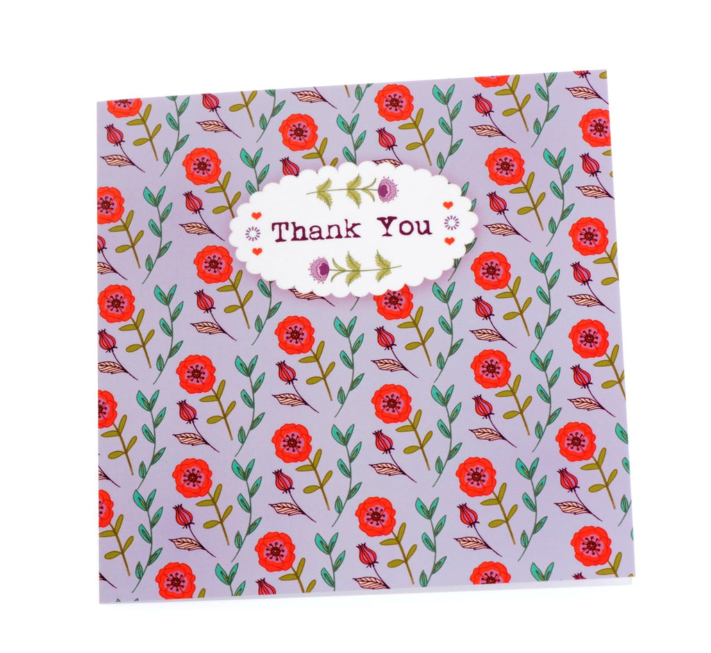 Two thank you cards in one design - purple