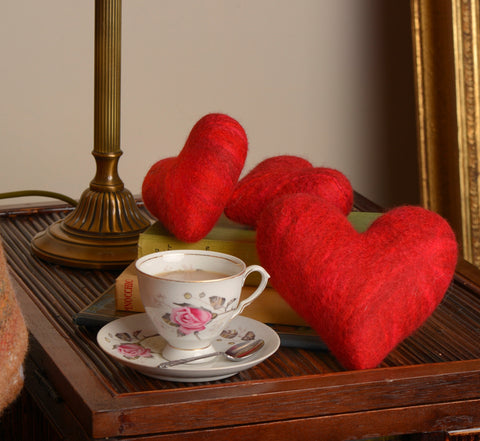 Red felted hearts (Available in two sizes)