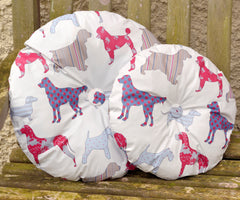 Round dog print cushion