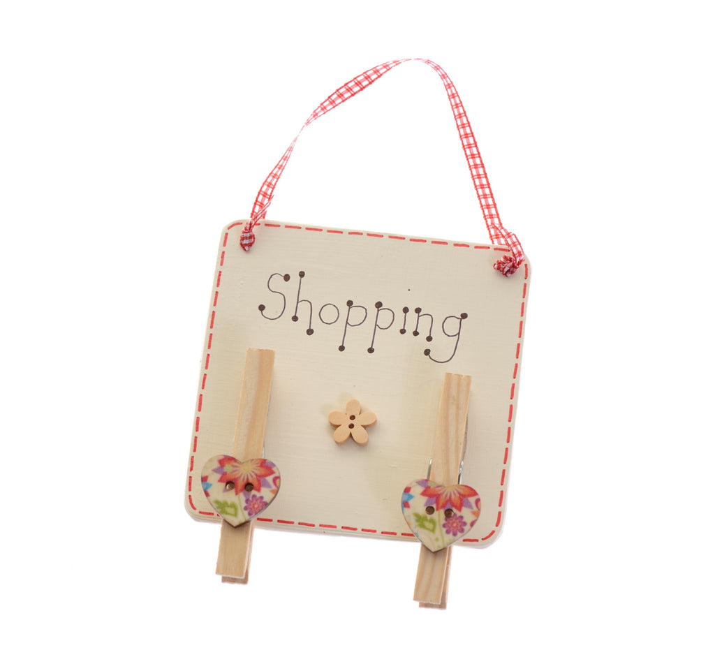 Shopping list organiser with floral buttons