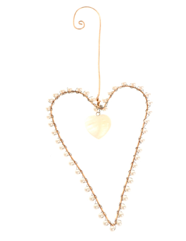 Silver wire and pearl beaded heart with heart