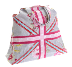 Spotty/floral union flag bag – blue and pink