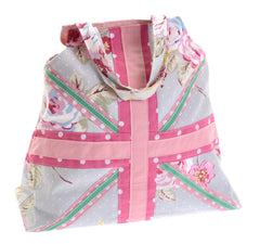 Spotty/floral union flag bag – green and pink