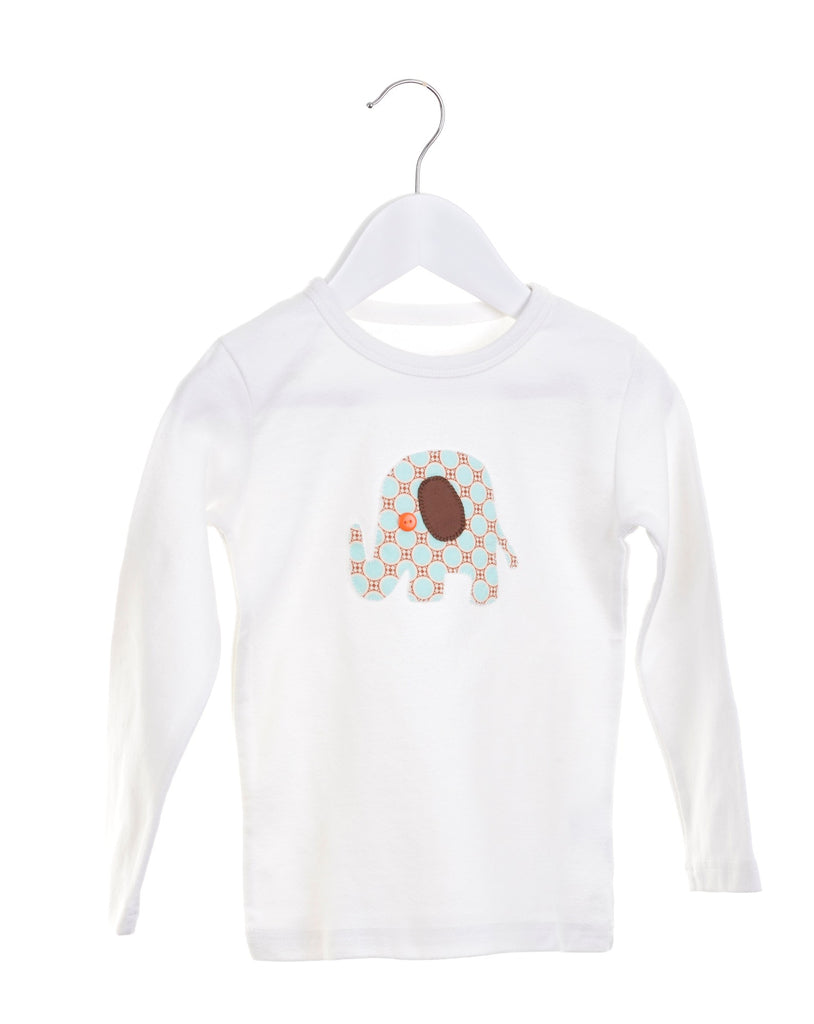 White long sleeve girls t-shirt with appliqué elephant
