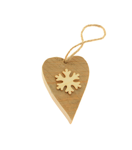 Fluffy wood heart snowflake hanging decoration