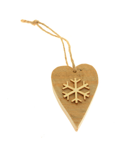 Modern wood heart snowflake hanging decoration