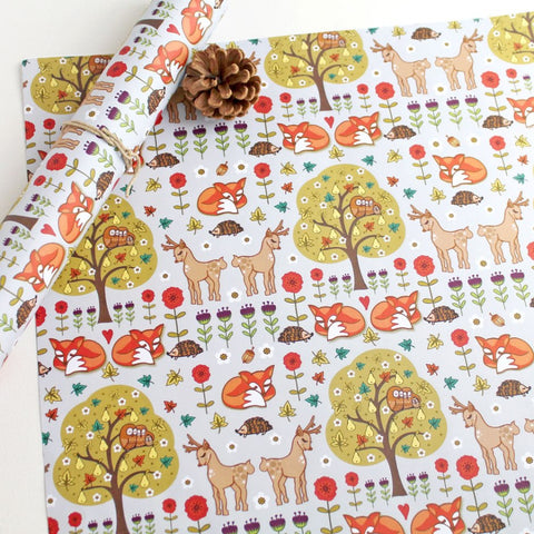 Woodland wild things gift wrap