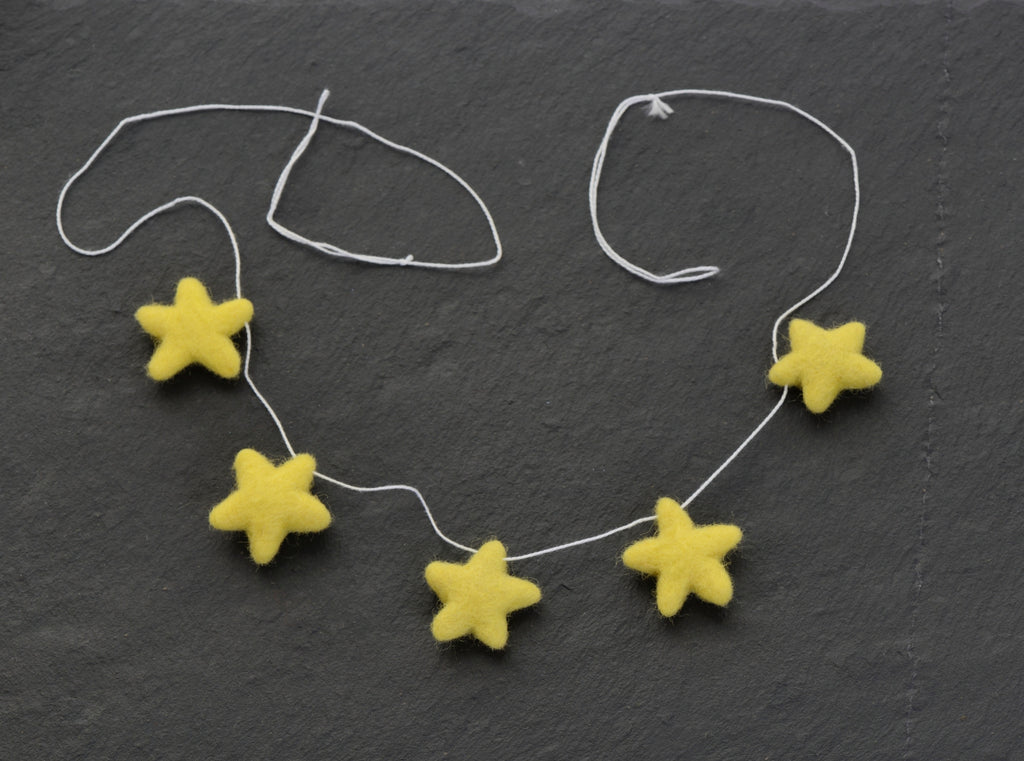 Small  yellow star felted bunting