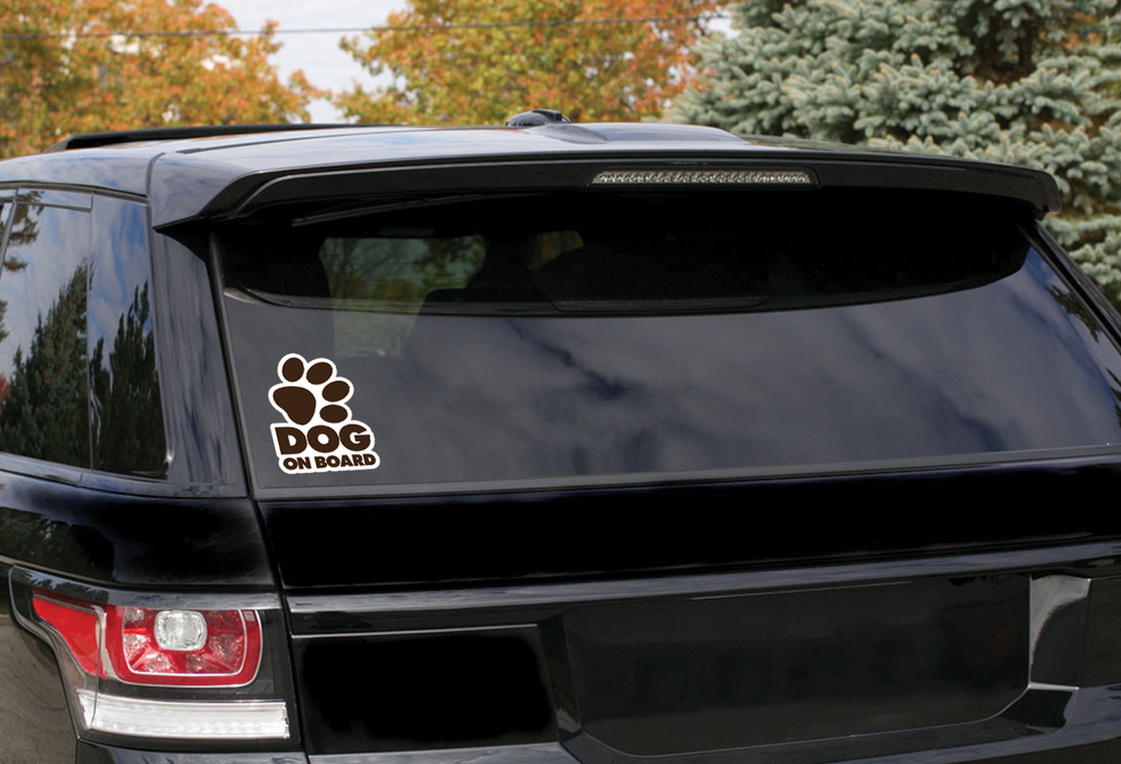 "Dog on Board ""brown paw sticker"""