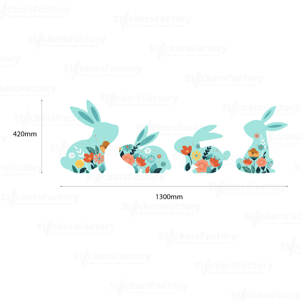 Four Easter Bunnies Wall Decal