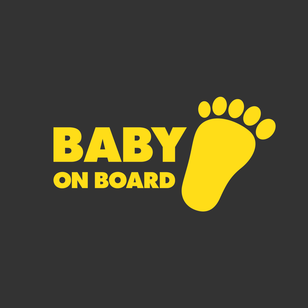 "Baby on Board ""little foot"" yellow sticker"
