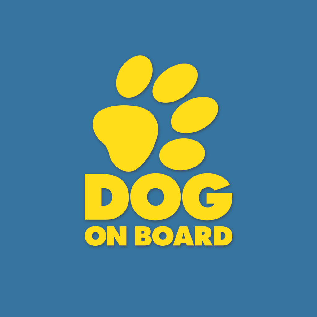"Dog on Board ""die-cut yellow sticker"" r"
