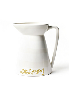 "SH Happy Everything White Stripe 8"" Flare Pitcher"