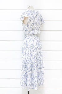 High Tea Flutter Sleeve Maxi Dress