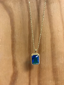 Blue Rectangle Stone Necklace