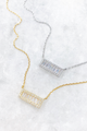 White CZ Bar Baguette Necklace