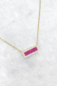 Ruby Baguette Bar Necklace