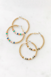 Beaded Color Hoops