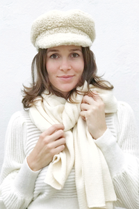 Beige Solid Knit Scarf