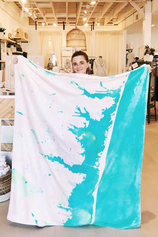 Lavallette Watercolor Map Blanket - House of Lucky