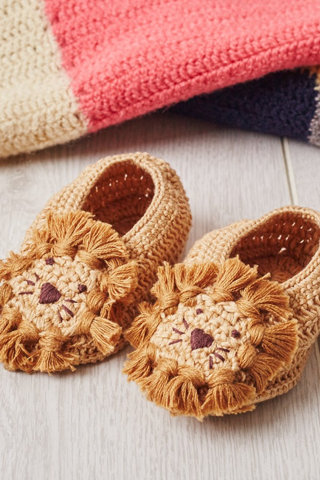 Lion Crochet Baby Booties - House of Lucky