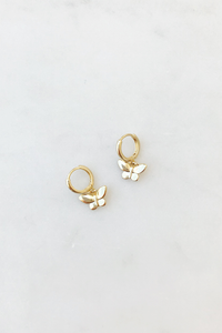 Plain Gold Butterfly Charm Huggie