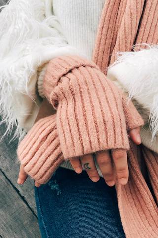 Cashmere Blended Ribbed Knit Fingerless Gloves